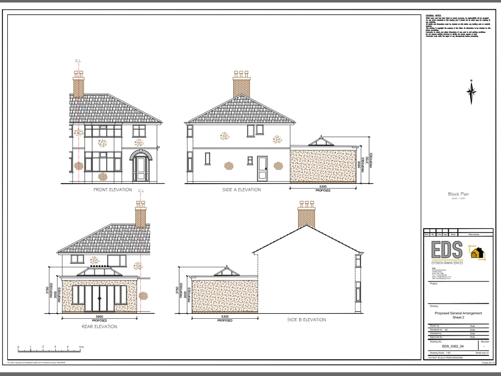 Alvaston single story rear extension extension drawing for What is rear elevation